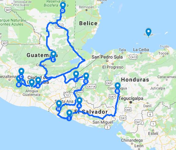 ruta por centroamérica 3 semanas