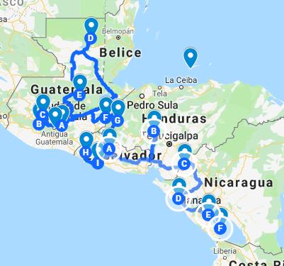 ruta por centroamérica 4 semanas